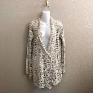 Free People Linen Blend Open Knit Cardigan Sweater